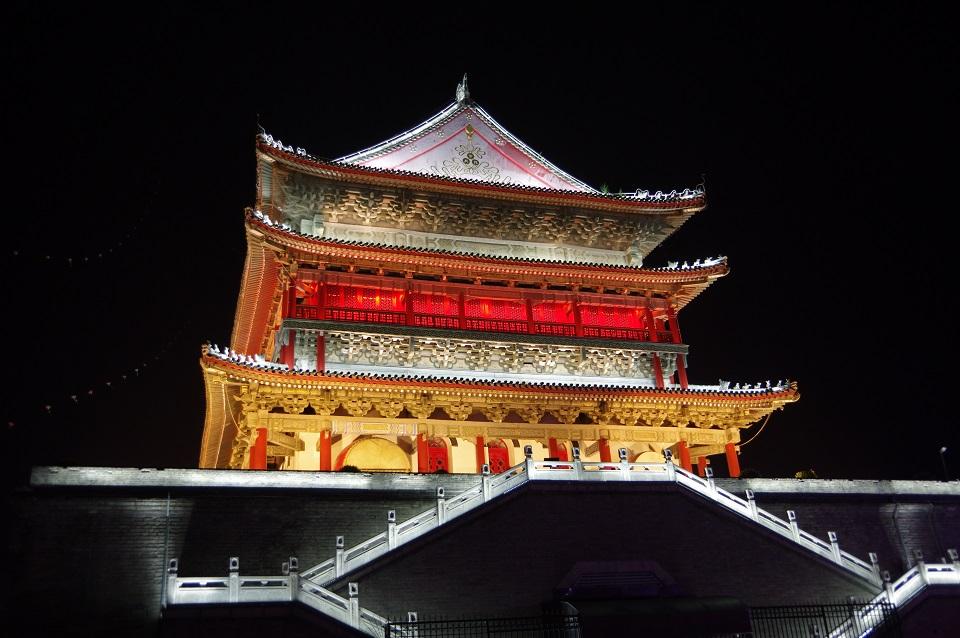xian-drum-tower-at-night